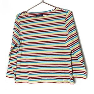EUC Faconnable Striped Boatneck Top M